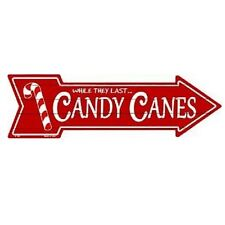 """Outdoor/Indoor Christmas Candy Canes Novelty Metal Arrow Sign 5"""" x 17"""""""