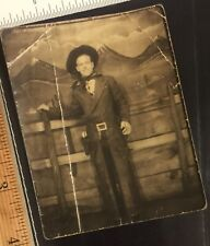 Vintage Photograph Handsome Man Western Wear Gay Interest 1940s Lg Photobooth A2