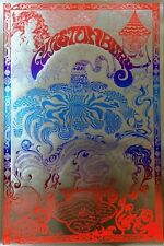 GLASTONBURY FESTIVAL 70'S, VINTAGE REPRO PSYCHEDELIC POSTER, SILVER FOIL