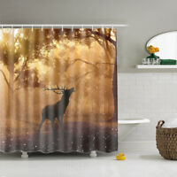 AOACreations Shower Curtain with Hooks for Bathroom Deer Prints