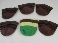 6 Vintage Set Hand Crocheted Drinking Glass Cozies Koozies Coasters Brown 34882