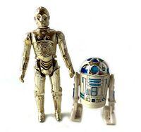 C-3PO & R2-D2 Vintage Star Wars Action Figures Lot 1977 Kenner HK Solid Dome