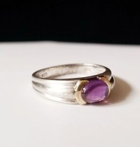 Tiffany & Co Amethyst Sterling Silver 18k Yellow Gold Ring 925 Size 6