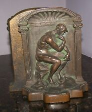 Antique Pair of Solid Bronze Bookends ~ The Thinker by Rodin ~ Deco /Arts Crafts