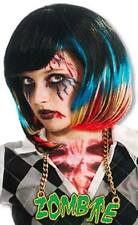 Zombie Rocker Wig Black Blue Red Rave Streak Pageboy Halloween Costume Accessory