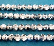 25 8mm Czech Glass Round Beads: Crystal/Silver