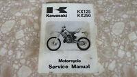 Shop Service Manual Repair Book OEM Kawasaki KX125 KX250 Used Repair