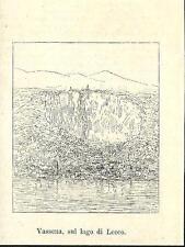 Stampa antica VASSENA di Oliveto Lario Lecco Lago di Como 1886 Old antique print