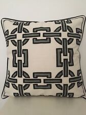 Aztec Moroccan Abstract  Black White Cotton Nordic Embroidery Cushion Cover 20""