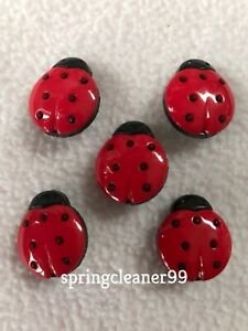 5 x RED & BLACK LADYBIRD BUTTONS ~ 32L (Approx 20mm x 17mm) CRAFT/ FASHION