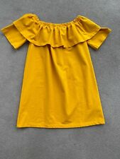 H&M Off The Shoulder Dress Size 12 Bright Yellowy Orange