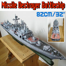 "1:200 Scale DIY Paper Model Kit Battleship Ship Military Warship Toy 32"" Long"
