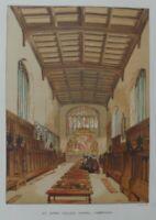 Antique lithograph print - St.John's college chapel - Cambridge - Leighton Bros