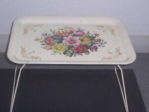 Vintage Retro Folding Metal Tray Table floral decoration 1950s 99p no reserve'
