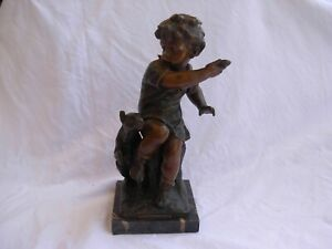 ANTIQUE FRENCH SPELTER STATUE,BOY WITH DOG,SIGNED,LATE 19th CENTURY.