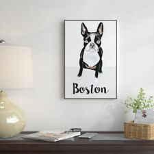 """'Boston Terrier' Floater Framed Watercolor Painting Print on Canvas 24""""x16""""x1.5"""""""