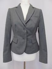 L K Bennett grey wool blend jacket UK 10 smart office business boardroom peplum