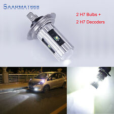 Pair H7 CREE LED Bulbs 25W 5 Chips w/ Error Free Decoder For BMW E46 3 High Beam