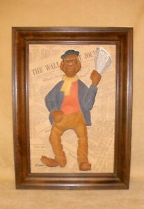 Duff Tweed Original Framed Wood Carved Wall Street Journal Street Peddler