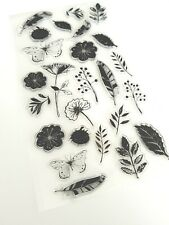 25 FLOWERS/BUTTERFLIES CLEAR RUBBER STAMPS/STAMP SET-FEATHER/LEAF-NATURE-LEAVES