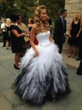 White and Black Gothic Wedding Dresses Crystal Beaded Sweetheart Bridal Gowns