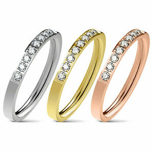 Damen Ring Verlobungsring Kristall Steine Edelstahl Fingerring Trauring Ehering