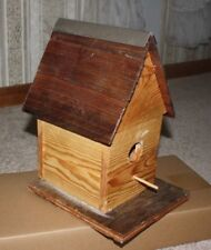 "Collectible Hand Made One of a Kind Rustic 12"" Tall x 9"" x 8"" Wooden Birdhouse"