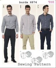 Burda 7142 SEWING PATTERN Men's Stylish Long Sleeve Shirts Sizes 34-50