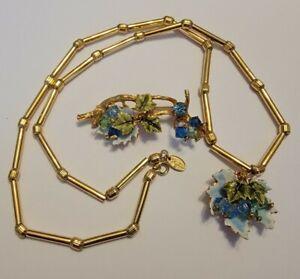 Vintage Signed Vendome Enamel Crystal Rhinestone Floral Necklace Brooch Set