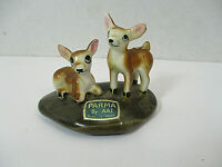 Vtg PARMA by AAI Miniature Deer Fawn Figurine on Stone Fairy Garden Japan Labels
