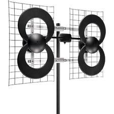 HDTV Antenna Ultra Long Range Uhf Outdoor TV Accessory 4 Quad Loop Clear Stream
