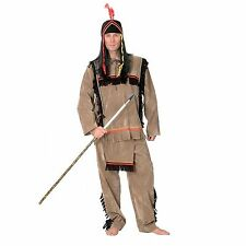 ADULT MENS 3 PCE NATIVE AMERICAN INDIAN COSTUME TOP SHIRT PANTS HEADPIECE LARGE