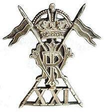 WW1 THE 21ST LANCERS CAP BADGE SOLID SILVER K.C