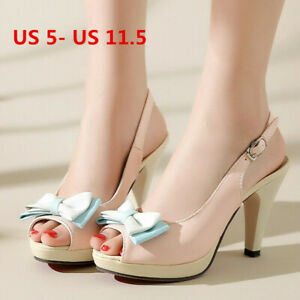 Womens Slingbacks Sandals Ankle Strap Bow Chunky Heeled Open Toe Shoes US 6 Pink