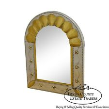 Mexican Arts & Crafts Style Tin & Brass Arched Mirror