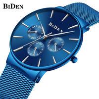 New Arrival Quartz Wristwatch Mesh Stainless Steel Band Luxury Men Watches BIDEN