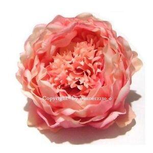 10 TOP Quality PEACH Artificial Silk Peony Rose Flower Head DIY Wedding Decor