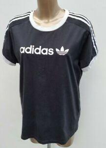 Women's Adidas Originals Trefoil 3 Stripe Tee Top Black Print T-Shirt Size 12