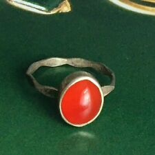 Mid century Vintage Silver Agate or Cornelian Modernist Signet Ring Sz L