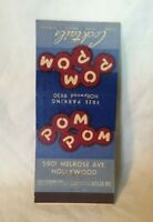 *Vintage Advertising Matchbook Cover POM POM COCKTAILS HOLLYWOOD CALIFORNIA