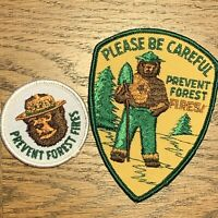 """Smokey Bear Embroidered Patches PREVENT FOREST FIRES 2"""" and 4"""" Patches"""