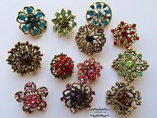Brooch Lot 12 Mixed Antique Brass Bronze Pin Rhinestone Crystal Wedding Bouquet