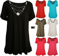 Women Plus Size Frill Necklace Gypsy Ladies Tunic Short Sleeve Long V Neck Top 2