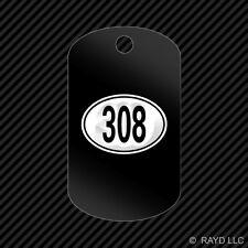Oval 308 Keychain GI dog tag engraved many colors
