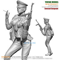 1/16 WWII German Sexy Officer Unpainted Model Kit YuFan Model Woman Solider New