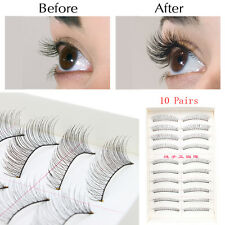 10Pairs Makeup Handmade Natural Fashion Long False Eyelashes Eye Lashes New