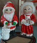 Antique 1940s Paper Mache  Santa Claus & Mrs. Claus Christmas Handmade RARE!!!