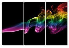 Quadro moderno NUVOLA COLORI fumo arcobaleno giallo fucsia rosso nero 60x90 arte