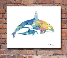 "Orca Abstract Watercolor Painting 11"" x 14"" Art Print by Artist DJ Rogers"