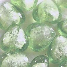 10 pcs 12mm Silver Foil Heart Beads -Pale Green - A3954